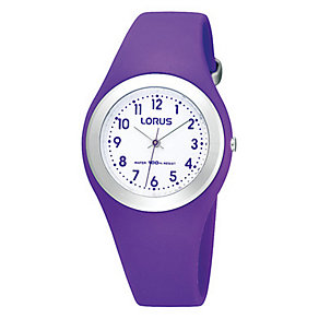 Lorus Children's White Dial Purple Plastic Strap Watch - Product number 9649123