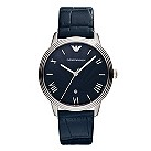Emporio Armani men's stainless steel blue strap watch - Product number 9650490