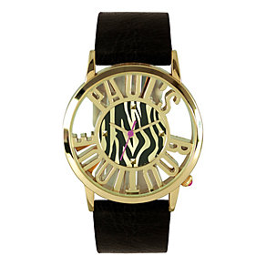 Paul's Boutique Ladies' Gold Coloured Zebra Dial Strap Watch - Product number 9650806