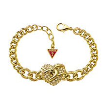 Guess Ladies' Gold-Plated & Crystal Heart Chain Bracelet - Product number 9653155