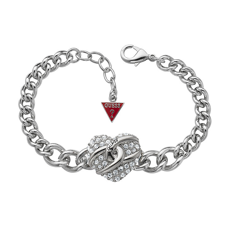 Guess Adjustable Silver Plated Pave Stone Set Heart Bracelet - Product number 9653538