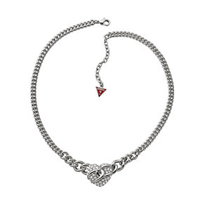 Guess Adjustable Rhodium Plated Stone Set Heart Necklace - Product number 9653554