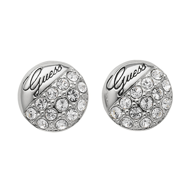Guess Rhodium Plated Crystal Set Stud Earrings - Product number 9653600