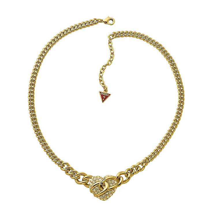 Guess Adjustable Gold Plated Pave Set Crystal Heart Necklace - Product number 9653813