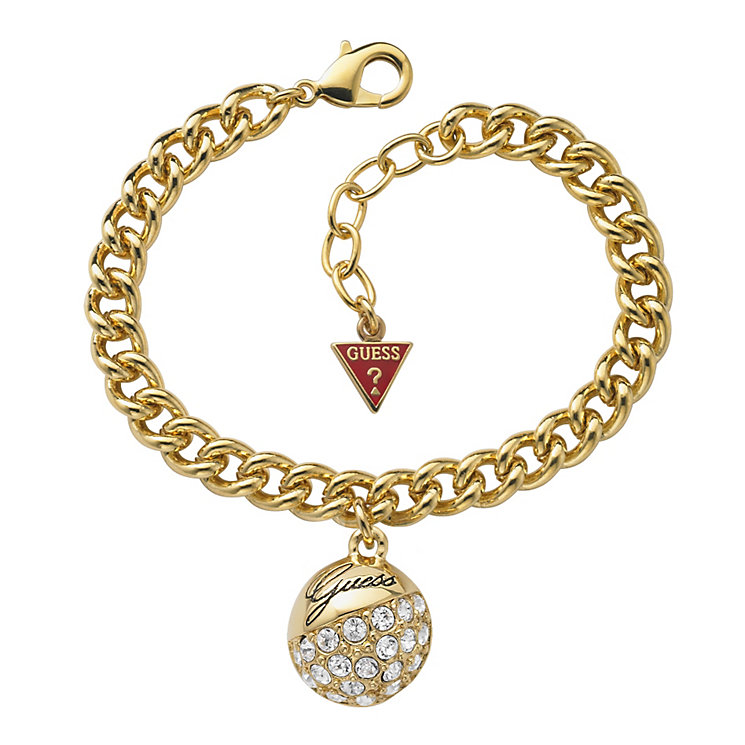 Guess Adjustable Gold Plated Crystal Ball Charm Bracelet - Product number 9653872
