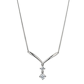 9ct Whit Gold Cubic Zirconia Drop Necklace - Product number 9655093