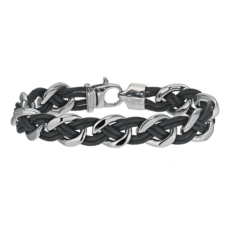 Stainless Steel and Leather Plaited Bracelet - Product number 9655441