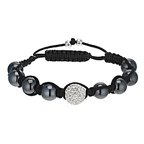 Eternal Men's Crystal and Hematite Cord Bracelet - Product number 9655506