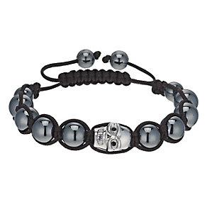 Eternal Men's Stainless Steel Skull & Hematite Bead Bracelet - Product number 9655522