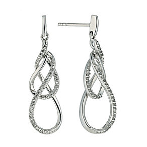 Sterling silver diamond swirl drop earrings - Product number 9656499