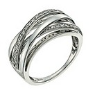Sterling silver diamond crossover ring - Product number 9657487