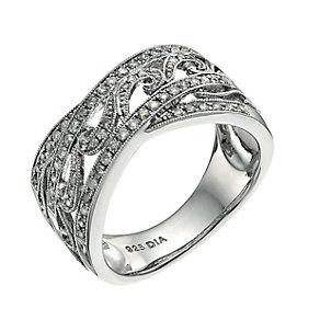 Sterling silver fifth carat diamond vintage ring - Product number 9657754