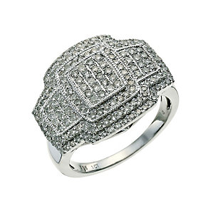 18ct white gold one carat diamond cluster ring - Product number 9658912
