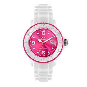 Ice-Watch Men's White and Pink Silicone Strap Watch - Product number 9659781