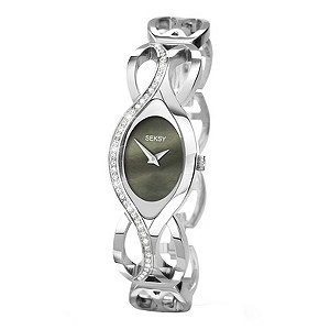 Seksy Ladies' Stone Set Black Dial Bracelet Watch - Product number 9660216