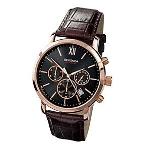 Sekonda Men's Gold Plated Brown Leather Strap Watch - Product number 9660399