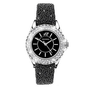 Sekonda Ladies' Stone Set Black Strap Watch - Product number 9660453