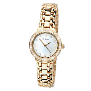 Sekonda Ladies' Gold Plated Stone Set Bracelet Watch - Product number 9660518