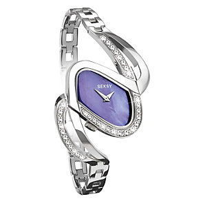 Seksy Ladies Purple Dial Stainless Steel Stone Set Watch - Product number 9661034
