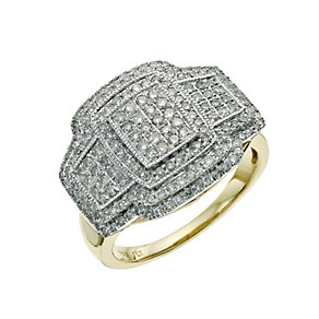18ct yellow gold 1 carat diamond cluster ring - Product number 9661387