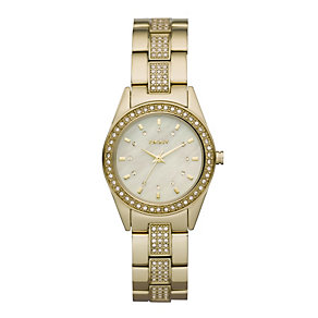 DKNY ladies' stone set gold plated bracelet watch - Product number 9662588