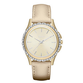 DKNY ladies' gold plated stone set strap watch - Product number 9662855