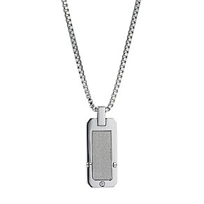 Stainless Steel Glitter and Cubic Zirconia Dog Tag - Product number 9667083