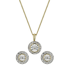 9ct gold diamond pendant and earrings set - Product number 9667814