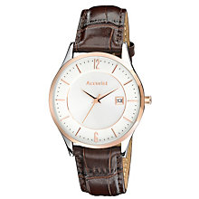 Accurist Men's Rose Gold Plated Brown Strap Watch - Product number 9668004