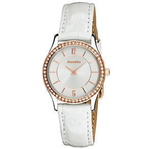 Accurist Ladies' Stone Set White Leather Strap Watch - Product number 9668020