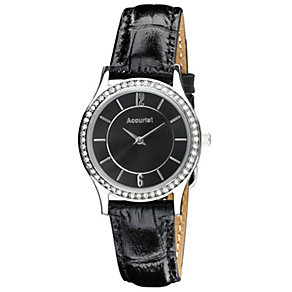 Accurist Ladies' Stone Set Black Leather Strap Watch - Product number 9668047