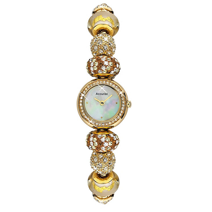 Accurist Ladies' Gold Plated Sunbeam Charm Bracelet Watch - Product number 9668098