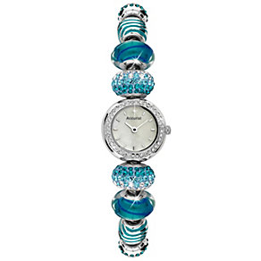 Accurist Ladies' Stainless Steel Blue Charm Bracelet Watch - Product number 9668101