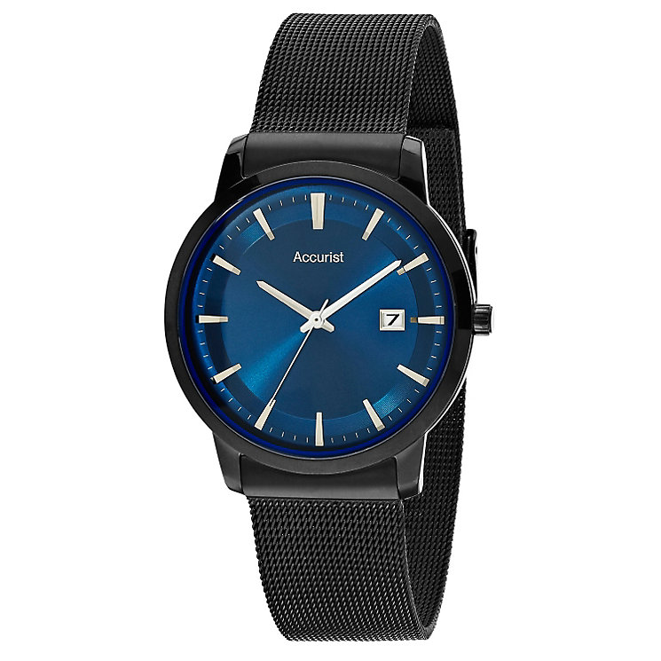 Accurist Men's Black Mesh Bracelet Watch With Blue Dial - Product number 9668144