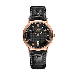 Roamer Limelight men's rose gold plated black strap watch - Product number 9669175