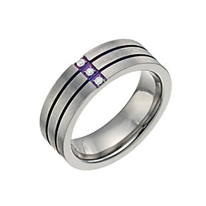 Men's Titanium Diamond Set Ring - Product number 9671579