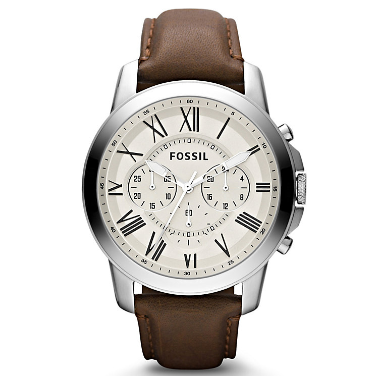 Fossil Men's Cream Dial Brown Leather Strap Watch - Product number 9673571