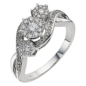 9ct white gold half carat three stone round cluster ring - Product number 9674055