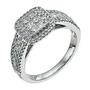 18ct white gold 1 carat diamond cluster ring - Product number 9674195