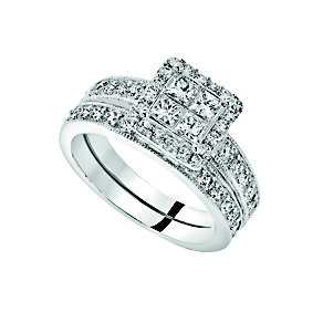 18ct white gold 1ct princess cut cluster bridal set - Product number 9674845