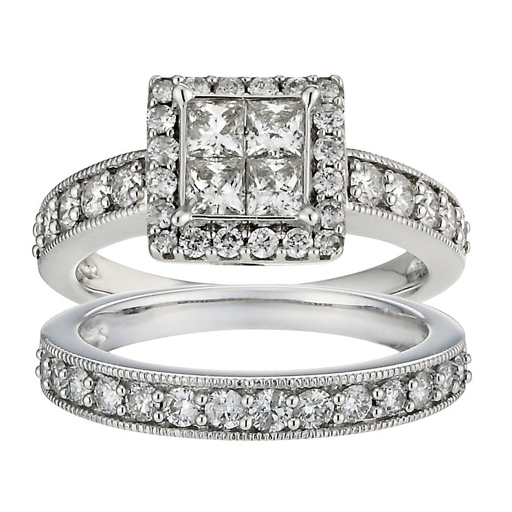 18ct white gold 1.5ct princess cut cluster bridal set - Product number 9674985