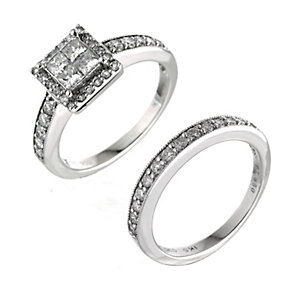 Platinum one carat princess cut cluster bridal set - Product number 9675116