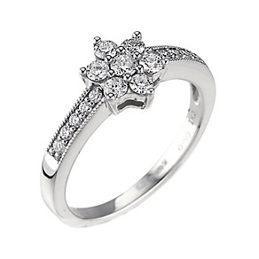 Platinum half carat diamond daisy cluster ring - Product number 9675523