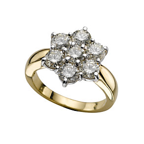 18ct gold two carat diamond cluster ring - Product number 9676236