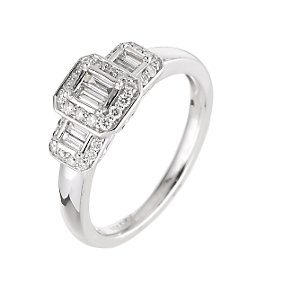 18ct white gold half carat diamond cluster ring - Product number 9676805