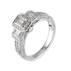 18ct white gold three quarter carat diamond cluster ring - Product number 9676937
