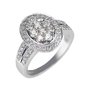 18ct white gold 1 carat diamond oval cluster ring - Product number 9677208