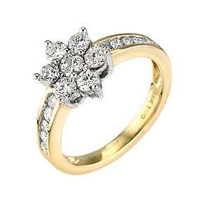 18ct gold one carat diamond daisy cluster ring - Product number 9677348