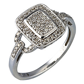 9ct white gold quarter carat diamond vintage cluster ring - Product number 9677879