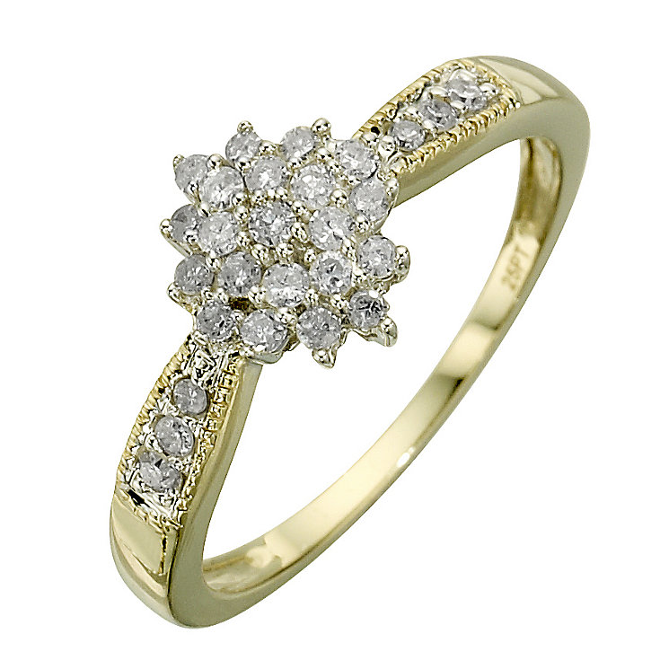 9ct gold two tone quarter carat diamond ring - Product number 9678301